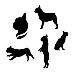 French bulldog vector silhouettes.