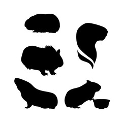 Vector silhouettes of a guinea pig.