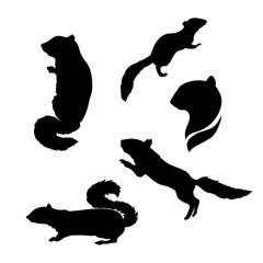 Vector silhouettes of a chipmunk.
