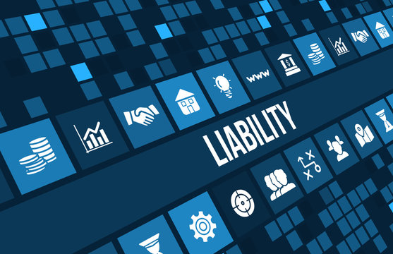liability concept image with business icons and copyspace.