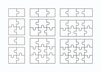 Jigsaw puzzle vector flat blank templates set