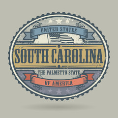 Stamp with the text United States of America, South Carolina