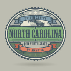 Stamp with the text United States of America, North Carolina