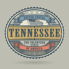 Vintage stamp with the text United States of America, Tennessee