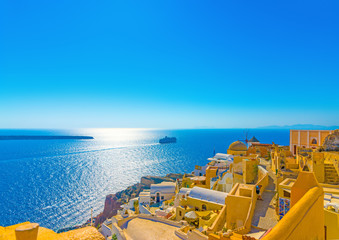 View to the sea from Oia the most beautiful village of Santorini island in Greece