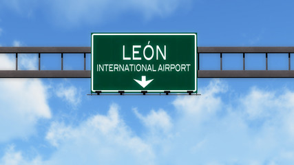Leon Mexico Airport Highway Road Sign