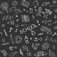 Back to school doodles on blackboard, seamless pattern. Vector