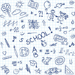 Back to school doodles in notebook, seamless pattern. Vector
