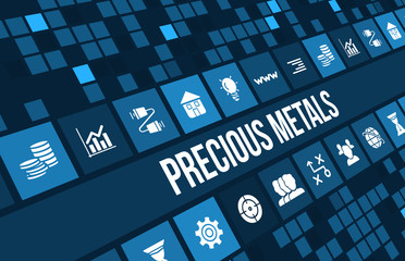 Precious metals concept image with business icons and copyspace.