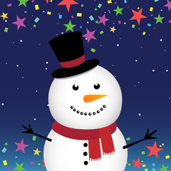 Happy snowman in the night sky