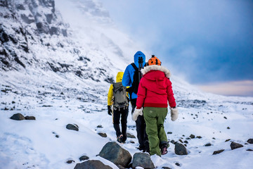 group of climbers in snow mountains.