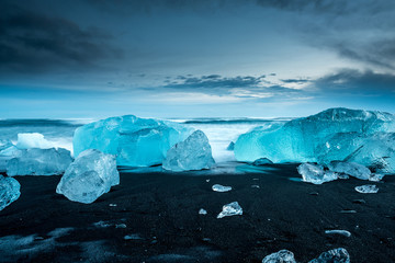Wall Mural - icebergs at crystal black beach in south Iceland