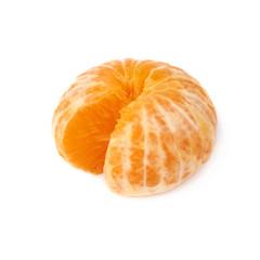 Fresh juicy tangerine fruit isolated over the white background