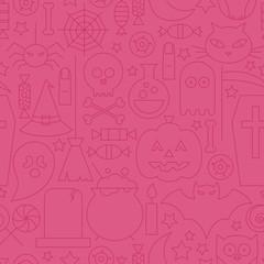 Thin Halloween Line Holiday Seamless Pink Pattern