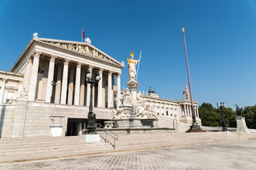 Built In 1883 The Austrian Parliament Building (Parlamentsgebaude) in Vienna is where the two houses of the Austrian Parliament conduct their sessions.