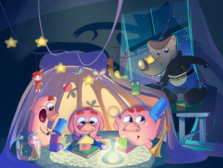Three little pigs in the playing tent. Kids book cover. Digital background raster illustration.