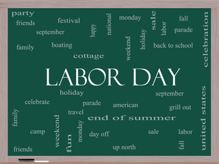 Labor Day Word Cloud Concept on a Blackboard