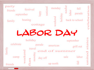 Labor Day Word Cloud Concept on a Whiteboard