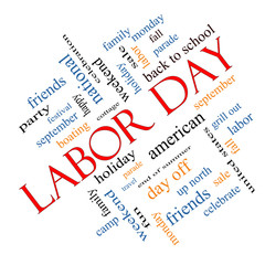 Labor Day Word Cloud Concept Angled