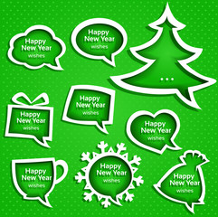 Christmas speech bubbles set various shapes on green background