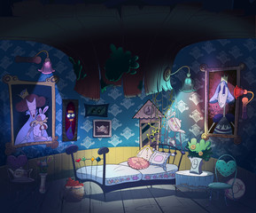 Little girl room interior. Alice in Wonderland, down the rabbit hole. Kids book picture. Digital background raster illustration.