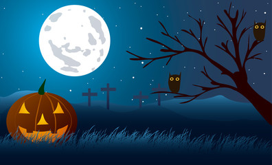 Halloween. Pumpkin background wooden crosses and with owls.