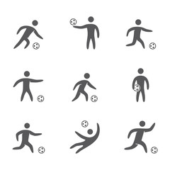 Silhouettes of figures soccer player icons