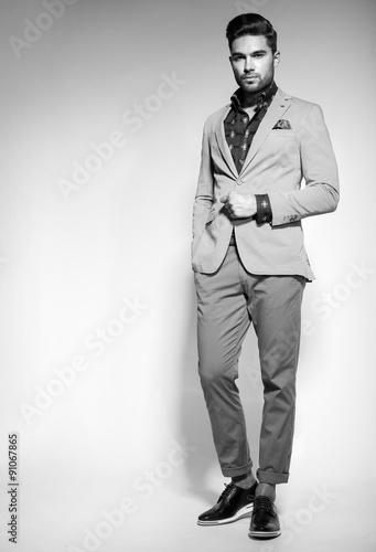 attractive fashion male model dressed elegant - casual