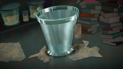 Glass Bucket with a Label in a Lab full of Books and Exhibit Glass Jars. Digital background raster illustration.