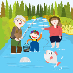 A picture of a family fishing in a river.