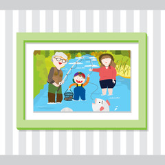 A picture of a family fishing inside a green frame. The father caught a fish.