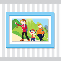 A picture of a family hiking up a mountain inside a blue frame.