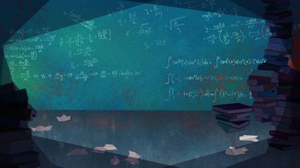 Mathematical Formulas written on the Wall in a Living Room full of Books. Digital background raster illustration.