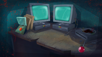 Two Computers and a Red Button on a Table in a Living Room. Science Laboratory. Digital background raster illustration.