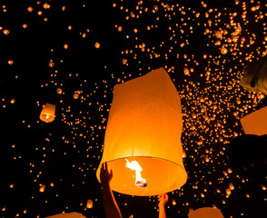 Floating lantern in Chiangmai province of Thailand