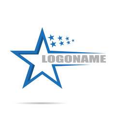 Logo company with stars, flat design on white background