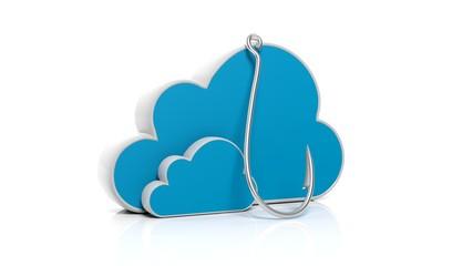 Storange cloud symbol with fishing hook, isolated on white background