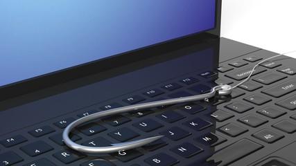 Fishing hook on laptop keyboard, isolated on white background