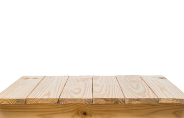 Wood table on white background