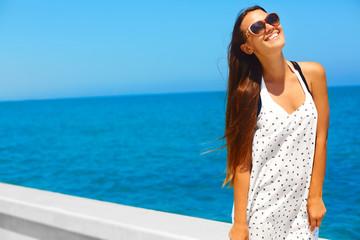 Girl having fun by the sea