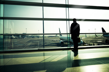 Traveler silhouettes at airport,Dublin