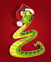 Cute Christmas snake bent in the form of a Christmas tree. On re