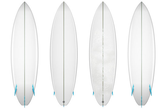 clear short surfboard and surfboard with wax