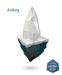 Icon iceberg island isolated on white background. Low poly style
