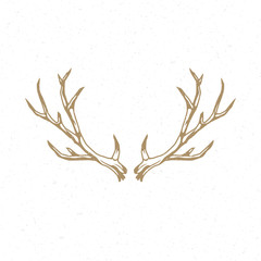 Deer Horns hand drawn logo emblem template