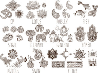mehndi symbols on a white background Wall mural