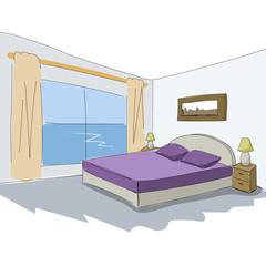 Vector interior sketch design of bedroom.