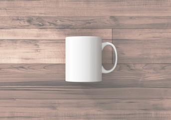 Kaffetasse weiss Vorlage auf Holz