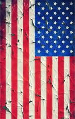 Peeling painting flag United States of America