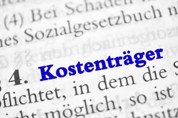 Kostenträger - Überschrift aus dem Sozialgesetzbuch - blaue Buchstaben